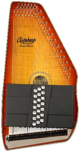 Oscar Schmidt OS110-21FHSE 21 Chord Flame Maple Autoharp with Fine Tuning System and Pickup – Honey Sunburst