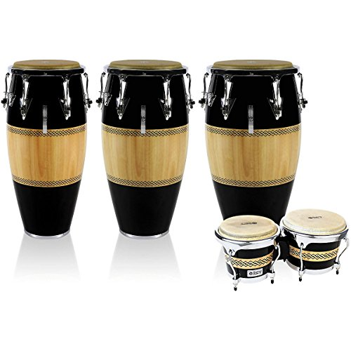 LP Performer Series 3-Piece Conga and Bongo Set with Chrome Hardware Black/Natural (Black/Natural)