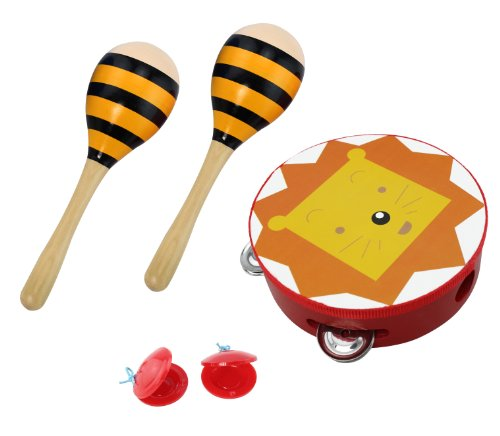 3 Piece Kids Toy Play Set with Tambourine, Maracas, and Castanets – Lion