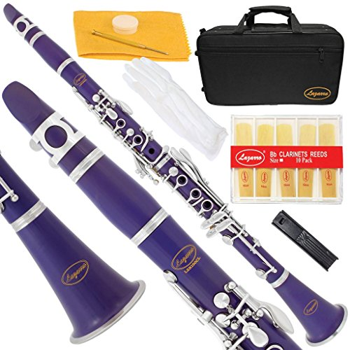 150-PR -PURPLE/SILVER Keys Bb B flat Clarinet Lazarro+11 Reeds,Case,Care Kit~24 COLORS Available,CLICK on LISTING to SEE All Colors
