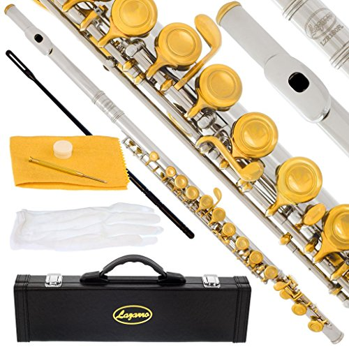 180-NK – Silver NICKEL/GOLD Keys Closed C Flute Lazarro+Pro Case,Care Kit – 10 COLORS Available ! CLICK on LISTING to SEE All Colors
