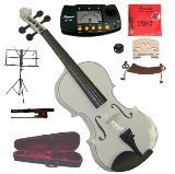 Merano 14″ White Viola with Case and Bow+Extra Set of String, Extra Bridge, Shoulder Rest, Rosin, Metro Tuner, Black Music Stand, Mute