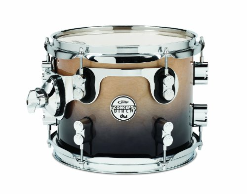 Pacific Drums PDCB0810STNC 8 x 10 Inches Tom with Chrome Hardware – Natural to Charcoal Fade
