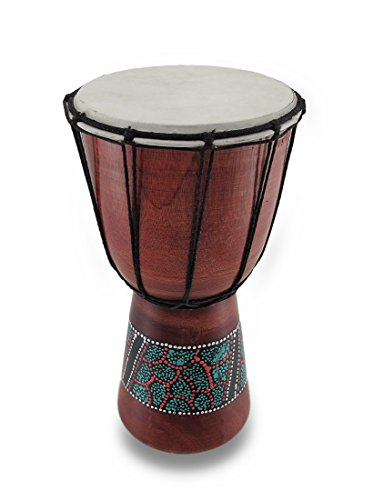 Djembe Aboriginal Polished Wood Drum 15 in.