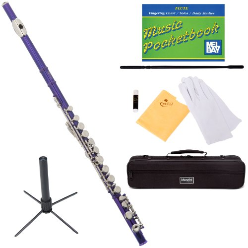 Mendini MFE-PL+SD+PB Purple Lacquer Closed Hole C Flute with 1 Year Warranty, Case, Stand, Cleaning Rod and Cloth, Joint Grease, and Gloves