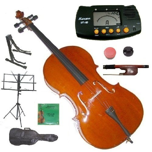 Merano 1/2 Size Student Cello with Bag and Bow+2 Sets of Strings+Cello Stand+Black Music Stand+Metro Tuner+Rubber Mute+Rosin