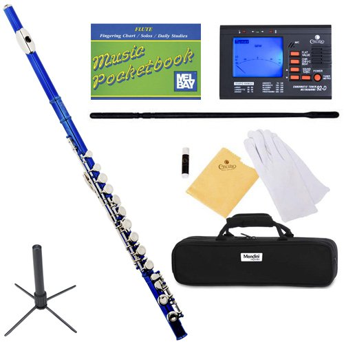 Mendini MFE-BL+SD+PB+92D Blue Lacquer Closed Hole C Flute with 1 Year Warranty, Case, Tuner, Stand, Cleaning Rod and Cloth, Grease, and Gloves
