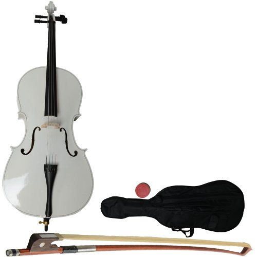 Olymstore(TM) 3/4 Size Student Acoustic Cello With Soft Case, Bow and Rosin White