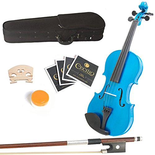 Mendini 14-Inch MA-Blue Solid Wood Viola with Case, Bow, Rosin, Bridge and Strings