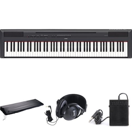 Yamaha P115B 88-Key Digital Piano Bundle with Sustain Pedal, Yamaha Headphones, and Dust Cover