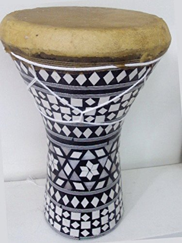 1pcs Large Egyptian Wooden Tabla Drum Doumbek Goat Skin Inlaid Handmade 11″