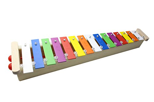 ProKussion 15 Key Alto Glockenspiel with Wooden Resonating Chamber and Removable Keys (6 Extra Keys and 4 Beaters)