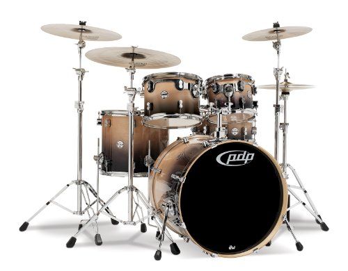 Pacific Drums PDCB2215NC 5-Piece Drumset with Chrome Hardware – Natural to Charcoal Fade