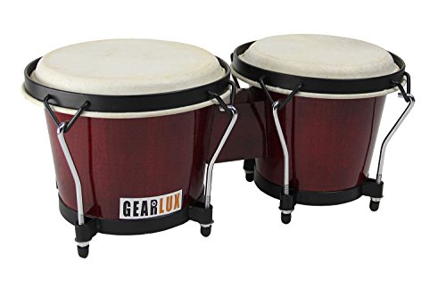 Gearlux 6-Inch & 7-Inch Wooden Tunable Bongos – Cherry