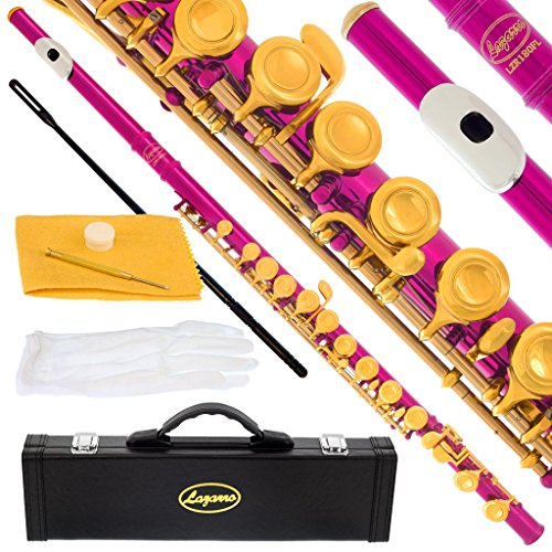 180-PK – HOT PINK/GOLD Keys Closed C Flute Lazarro+Pro Case,Care Kit – 22 COLORS Available ! CLICK on LISTING to SEE All Colors