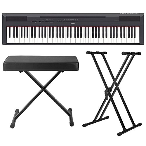Yamaha P-115 88-Key Digital Piano (Black) with Knox Double X Stand and Knox Large Bench
