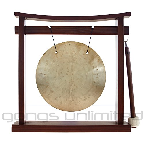 Traditional 8″ (20 cm) Bronze Chinese Wind (Feng) Gong on our exclusive Pretty Chill Wood Gong Stand – Perfect small for Desktop and Tabletop, Home Decor, Feng Shui, Shrine or Meditation – High Quality Sound, Bright beautiful tone – Handmade by China's Best Gongmakers in Wuhan (Combo includes Gong, Gong Stand and Mallet) – Gongs Unlimited