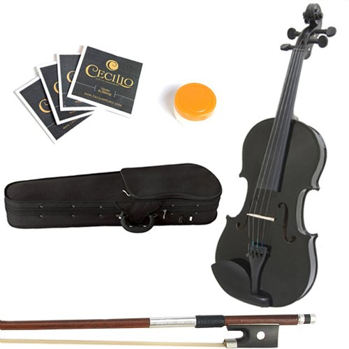 Mendini 15-Inch MA-Black Solid Wood Viola with Case, Bow, Rosin, Bridge and Strings