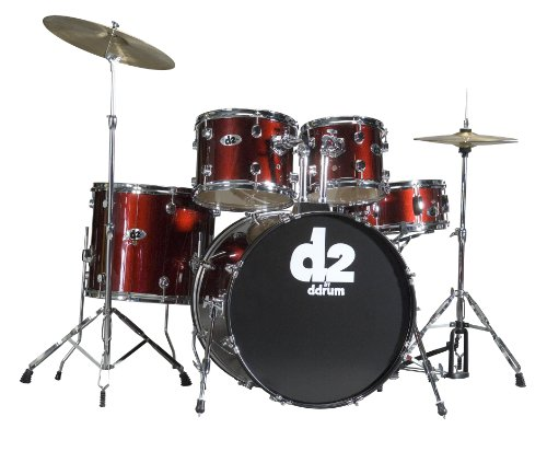dDrum D2 Beginner 5 Piece Drum Set Blood Red