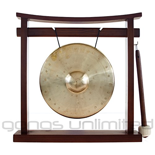 Traditional 8″ (20 cm) Bronze Chinese Bao Gong on our exclusive Pretty Chill Wood Gong Stand – Southeast Asian Style Nipple made in Wuhan China – Perfect small size for Desktop and Tabletop, Home Decor, Feng Shui, Shrine, Meditation – High Quality Sound – Has single clear note (Combo includes Gong, Gong Stand and Mallet) – Gongs Unlimited