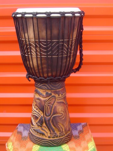 20″ X 10-11″ Deep Carved Djembe Bongo Drum Elephants with Free Cover, Model # 50M8