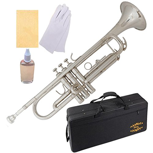 Glory Brass Bb Trumpet with Pro Case +Care Kit, Nickel Silver, More COLORS Available ! CLICK on LISTING to SEE All Colors