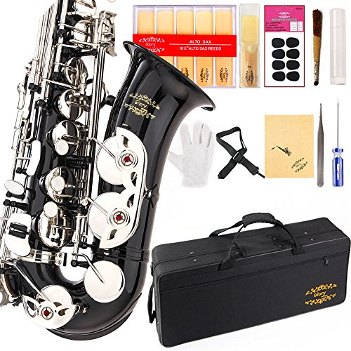 Glory Black/Silver keys E Flat Alto Saxophone with 11reeds,8 Pads cushions,case,carekit-More Colors with Silver or Gold keys