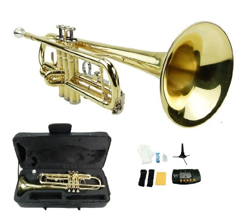 Merano B Flat GOLD / Silver Trumpet with Case+Mouth Piece+Valve Oil+Metro Tuner+Stand