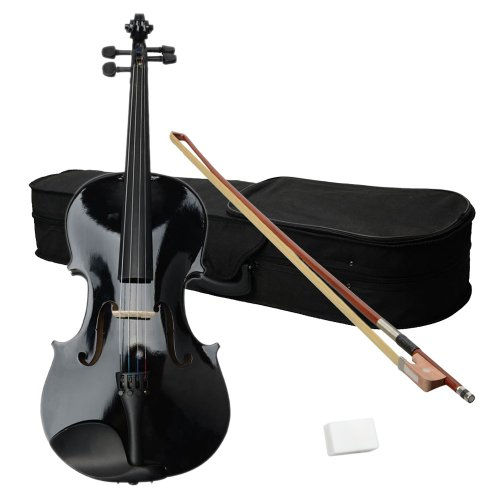 16″ BLACK Solid Wood Acoustic Viola Beginner Starter Package With Case, Bow, Rosin