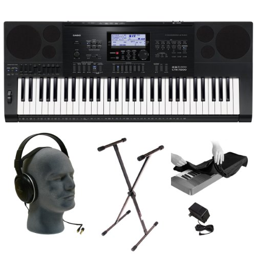 Casio Inc. CTK7200 PPA 61-Key Premium Keyboard Pack with Audio Technica ATH-T200 Headphones, Power Adapter, Stand and Dust Cover