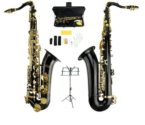 Merano B Flat Black / Gold Tenor Saxophone with Case,Reed,Mouth Piece,Screw Driver,Nipper. A pair of gloves, Soft Cleaning Cloth+Music Stand