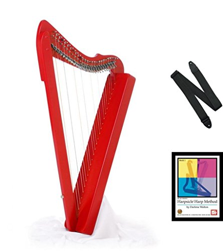 Harpsicle Harps 26 String 33″ Red Lap Fullsicle with Book & Strap