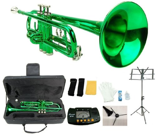 Merano B Flat Green / Silver Trumpet with Case+Mouth Piece+Valve Oil+Metro Tuner+Black Music Stand+Trumpet Stand
