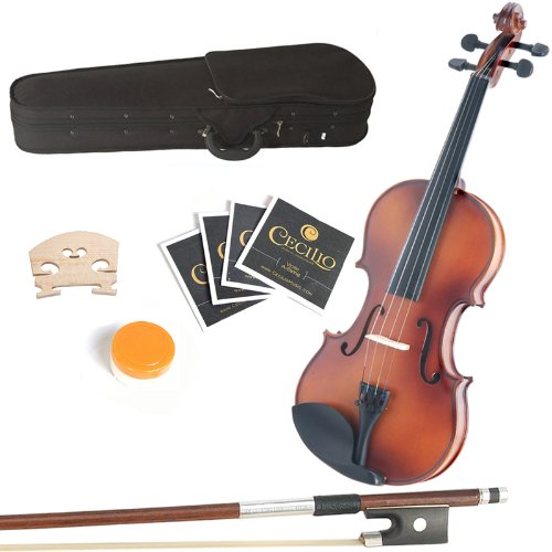 Mendini 14-Inch MA350 Satin Antique Solid Wood Viola with Case, Bow, Rosin, Bridge and Strings