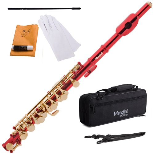Mendini MPO-RL Red Lacquer Key of C Piccolo with Gold Keys with Case, Joint Grease, Cleaning Cloth and Rod, and Pair of Gloves