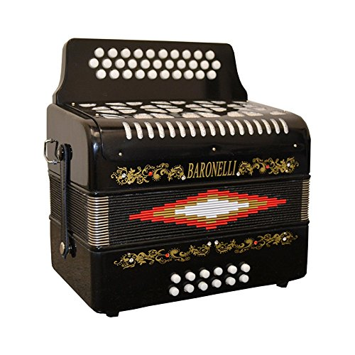 Baronelli 31 Buttons Key of G Accordion – Black w/ Hard Shell Case