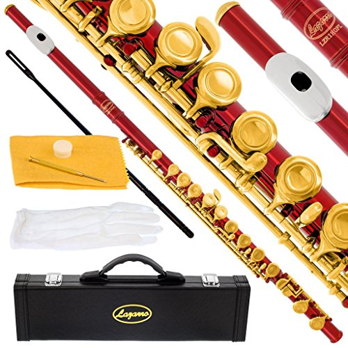 180-RD – RED/GOLD Keys Closed C Flute Lazarro+Pro Case,Care Kit – 10 COLORS Available ! CLICK on LISTING to SEE All Colors