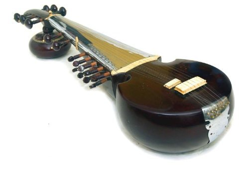 Classic Black Acoustic Rosewood Indian Sarod (Lute-guitar) with Wooden Tabli-Head
