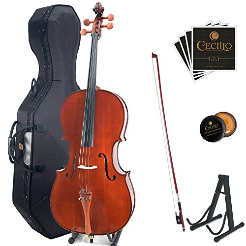 Cecilio CCO-300 Solid Wood Cello with Hard & Soft Case, Stand, Bow, Rosin, Bridge and Extra Set of Strings, Size 3/4