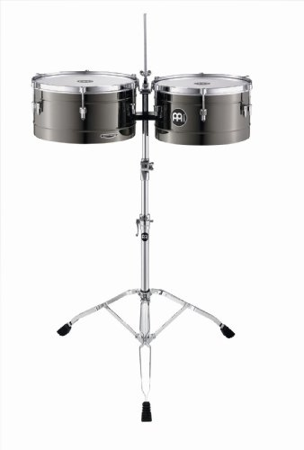Meinl Percussion MT1415BN Marathon Series Black Nickel Finish Steel Timbales, 14-Inch and 15-Inch with Stand