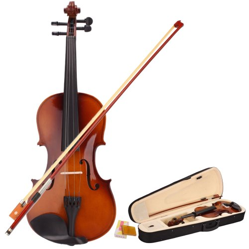 VIOLIN 4/4 Scale FULL Size NATURAL WOOD FIDDLE Travel Case Rosin Bow NEW SET