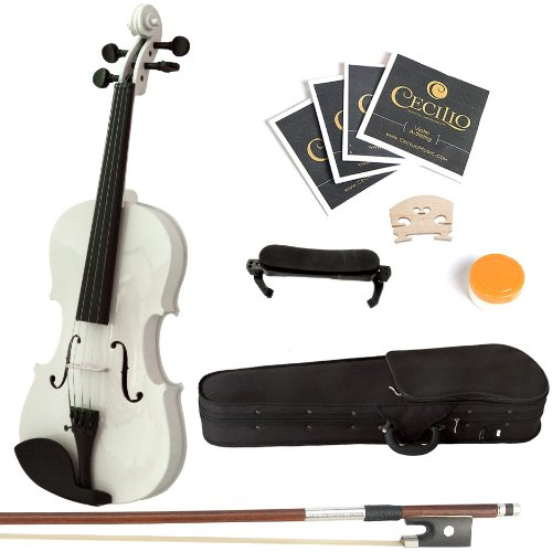 Mendini 1/2 MV-White Solid Wood Violin with Hard Case, Shoulder Rest, Bow, Rosin and Extra Strings