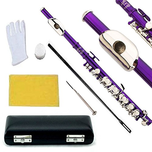 Glory Key of C Piccolo with Pro Case, Joint Grease, Cleaning Cloth and Rod, and Gloves, Purple/Silver keys ~ More COLORS Available ! CLICK on LISTING to SEE All Colors