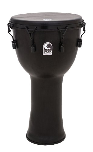 Toca Mechanically Tuned Djembe with Extended Rim 14 in. Black Mamba