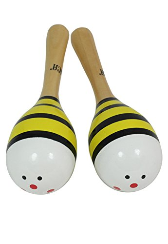 D'Luca M2012-2A Kids 7.5″ Bumble Bee Wood Maracas