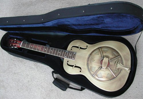Aiersi Golden Brass Resonator Guitar Classic Single Cone Palm Tree Etched with Foam Case