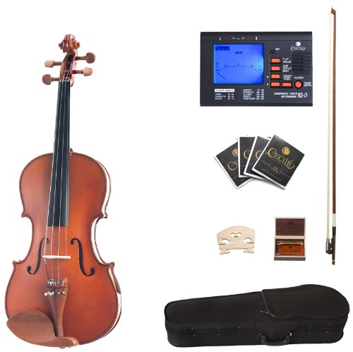 Cecilio CVA-400 16.5-Inch Solid Wood Flamed Viola with Chromatic Tuner