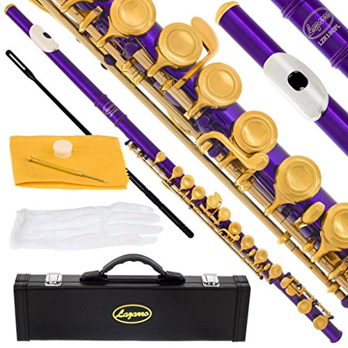 180-PR – PURPLE/GOLD Keys Closed C Flute Lazarro+Pro Case,Care Kit – 22 COLORS Available ! CLICK on LISTING to SEE All Colors