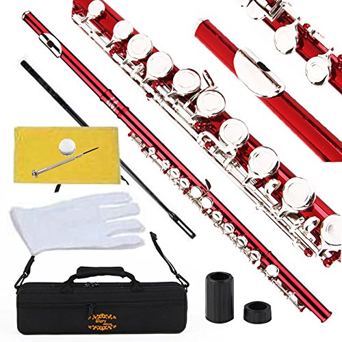 Glory Closed Hole C Flute With Case, Tuning Rod and Cloth,Joint Grease and Gloves Red -More Colors available,Click to see more colors