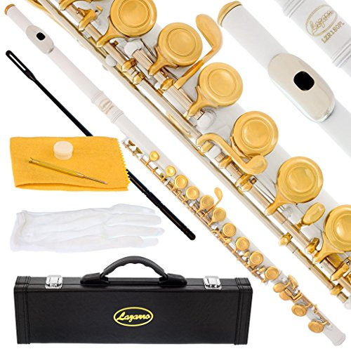 180-WH – WHITE/GOLD Keys Closed C Flute Lazarro+Pro Case,Care Kit – 22 COLORS Available ! CLICK on LISTING to SEE All Colors